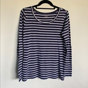 Ann Taylor LOFT Striped Long Sleeve Tee-Shirt